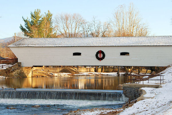 The Elizabethton Covered Bridge spanning the Doe River.